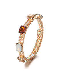 Fashion Multi-color Square Shape Gemstone Decorated Hollow Out Bracelet