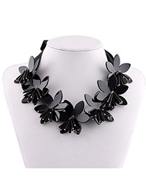 Fashion Black Flower Decorated Pure Color Simple Necklace