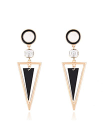 Trendy Gold Color Double Triangle Shape Pendant Decorated Color Matching Simple Earrings