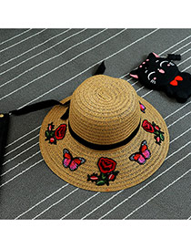 Fashion Khaki Patch & Bowknot Decorated Simple Hat