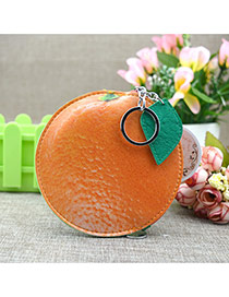 Fashion Orange Circular Ring&leaf Pendant Decorated Round Shape Simple Wallet