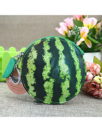 Fashion Dark Green Circular Ring&leaf Pendant Decorated Watermelon Shape Simple Wallet