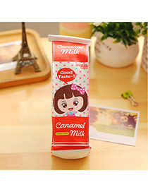 Fashion Red Cartoon Pattern Decorated Milk Box Shape Design Pen Bag