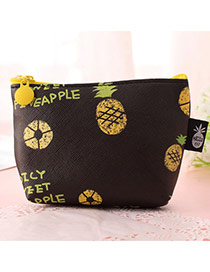 Fashion Brown Pineapple Pattern Decorated Square Shape Simple Wallet