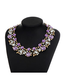 Fashion Purple Round Shape Diamond Decorated Double Layer Necklace