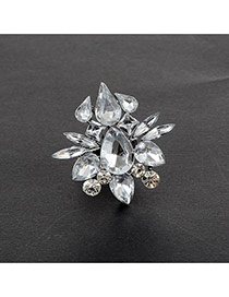 Fashion Silver Color Water Drop Shape Diamond Decorated Flower Shape Ring