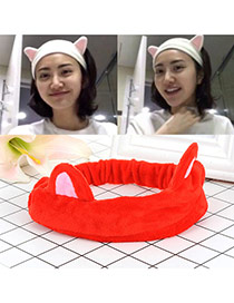 Fashion Red Cat Ears Decorated Color Matching Design Hair Band