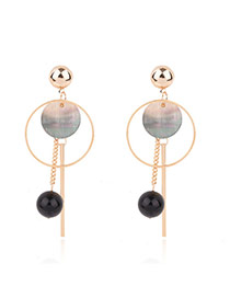 Fashion Gold Color Round Ball&vertical Shape Decorated Color Matching Simple Earrings