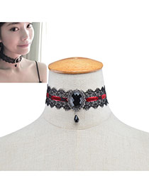 Fashion Black Oval Shape Diamond Decorated Hollow Out Lace Choker