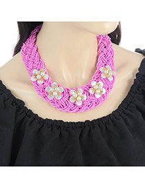 Fashion Plum Red Pearls&flower Decorated Color Matching Collar Beads Necklace