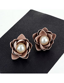 Fashion Pink Big Pearl Decorated Flower Shape Simple Earrings
