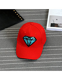 Fashion Red Embroidery Diamond Pattern Decorated Pure Color Baseball Cap