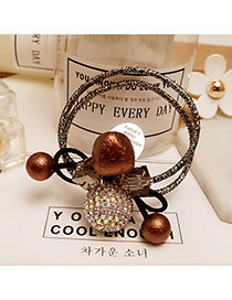 Elegant Coffee Round Balls Decorated Double Layer Color Matching Hair Band