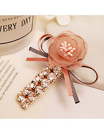 Elegant Pink Flower Decorated Double Layer Diamond Design Hair Clip