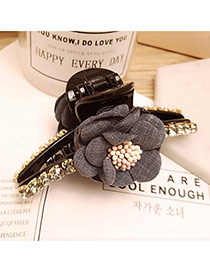 Elegant Gray Flower Decorated Color Matching Simple Hair Claw