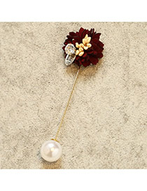 Fashion Claret Red Diamond&pearls Decorated Flower Shape Simple Brooch