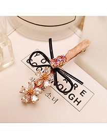 Fashion Pink Flowers&bowknot Decorated Color Matching Hair Clip