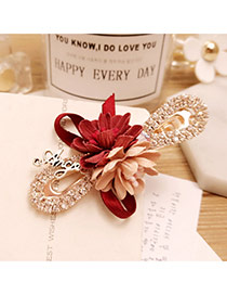 Elegant Claret Red+pink Flower Decorated Color Matching Hollow Out Hair Pin