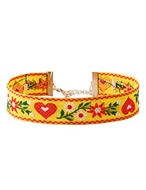 Fashion Yellow Embroidery Flower Pattern Decorated Color Matching Choker