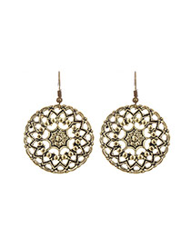 Fashion Gold Color Flower Decorated Hollow Out Design Simple Earrings