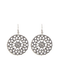Fashion Silver Color Flower Decorated Hollow Out Design Simple Earrings