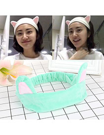 Fashion Green Cat Ears Decorated Color Matching Simple Hair Band