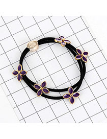 Fashion Purple Flowers Decorated Double Layer Hair Band