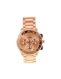Fashion Champagne Letter Pattern Decorated Pure Color Chain Watch
