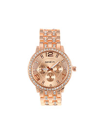 Fashion Champagne Diamond Decorated Round Dail Pure Color Watch