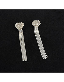 Fashion Silver Color Long Tassel Pendant Decorated Pure Color Simple Earrins
