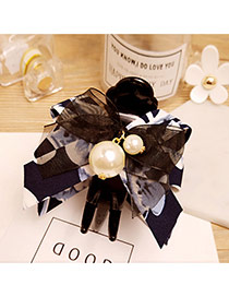 Fashion Navy Flower Decorated Bowknot Shape Simple Hair Claw