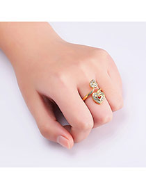 Sweet Gold Color Double Hearts Decorated Hollow Out Opening Ring