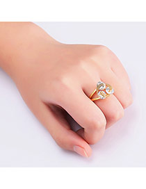 Fashion Gold Color Flower Decorated Hollow Out Design Simple Ring