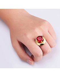 Fashion Gold Color Big Gemstone Decorated Color Matching Simple Ring