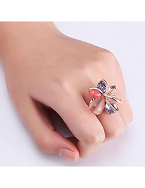 Fashion Rose Gold Flower Decorated Hollow Out Color Matching Ring