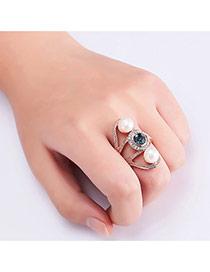 Fashion Rose Gold Pearls&diamond Decorated Irregular Shape Ring