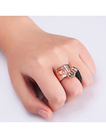 Fashion Rose Gold Tassel&gemstone Decorated Pure Color Opening Ring
