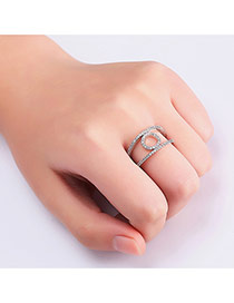 Fashion Silver Color Diamond Decorated Pure Color Hollow Out Ring