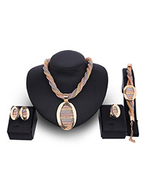 Fashion Gold Color Oval Shape Decorated Color Matching Jewelry Sets(4pcs)