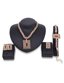 Fashion Gold Color Square Shape Decorated Hollow Out Design Jewelry Sets (4pcs)