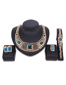 Fashion Gold Color Square Shape Diamond Decorated Hollow Out Jewelry Sets (4pcs)
