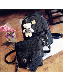 Trendy Black Bear Decorated Pure Color Simple Backpack(4pcs)