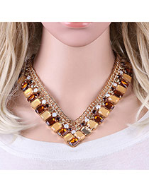Elegant Coffee Square Shape Gemstone Decorated V Shape Simple Necklace
