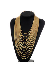 Fashion Gold Color Pure Color Decorated Multi-layer Simple Necklace