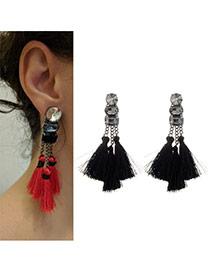 Fashion Black Tassel Pendant Decorated Pure Color Earrings