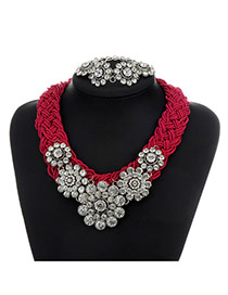 Fashion Purple Flower Decorated Color Matching Collar Jewelry Sets