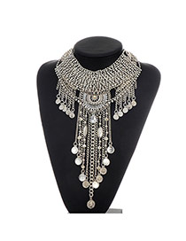 Fashion Silver Color Long Tassel Pendant Decorated Hollow Out Simple Necklace