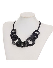 Fashion Black Round Spiraldecorated Pure Color Simple Necklace