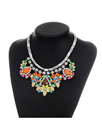 Fashion Multi-color Water Drop Shape Diamond Decorated Color Matching Necklace