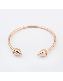 Fashion Rose Gold Pure Color Decorated Taper Shape Opening Bracelet